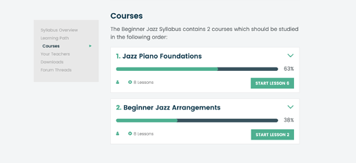 Syllabus Courses With Progress Tracking
