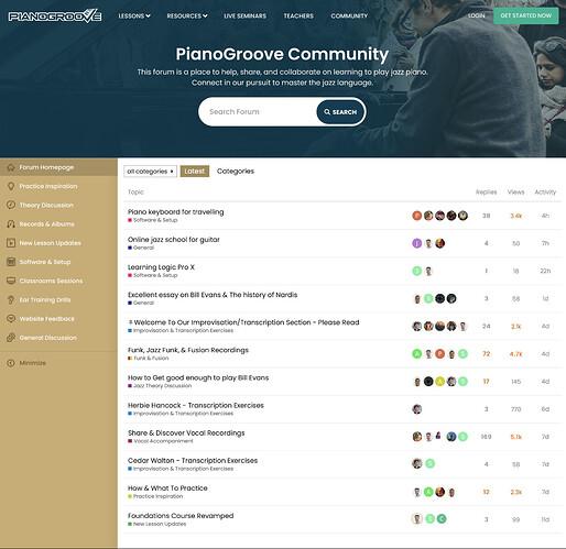 new forum side menu